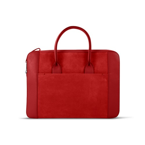Briefcase (13 inch) - Red - Suede Calf