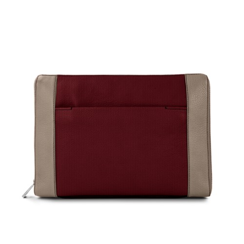 Document case 13 inches - Burgundy-Mink - Granulated Leather