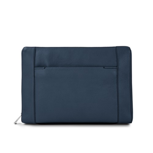 "Document case 13"" - Navy Blue - Granulated Leather"