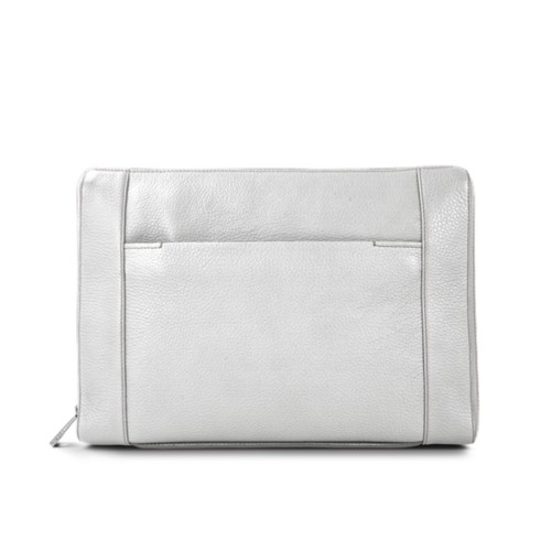 Document case 13 inches - White - Granulated Leather