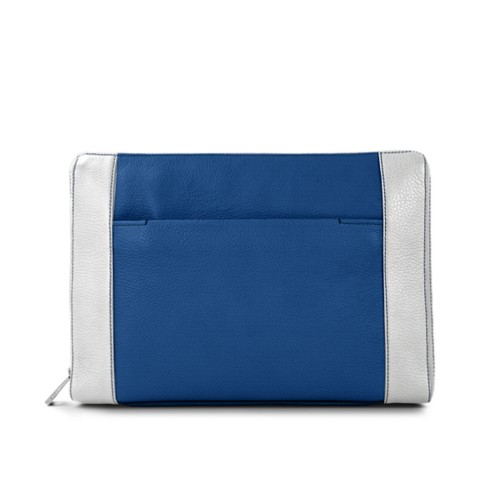 Document case 13 inches - Royal Blue-White - Granulated Leather