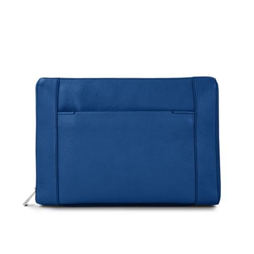 Sac serviette 13 pouces - Bleu Roi - Cuir Grainé