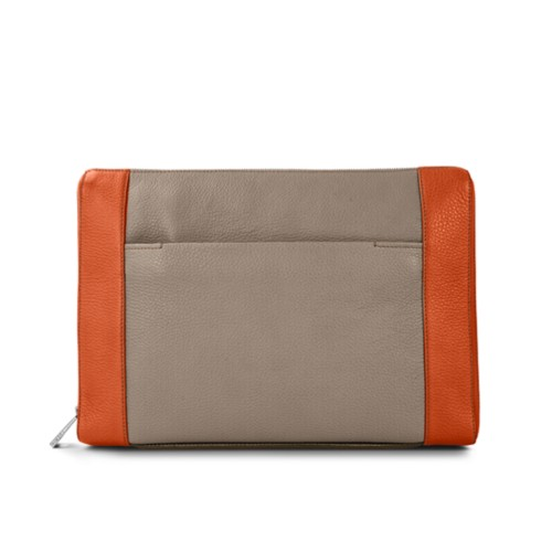 Document case 13 inches - Mink-Orange - Granulated Leather