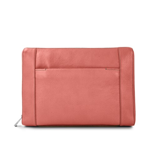 "Document case 13"" - Coral - Granulated Leather"
