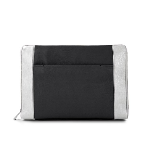 Document case 13 inches - Black-White - Granulated Leather