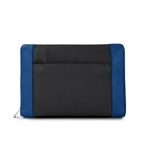 Document case 13 inches - Black-Royal Blue - Granulated Leather