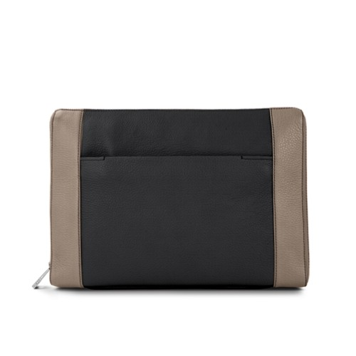 Document case 13 inches - Black-Mink - Granulated Leather