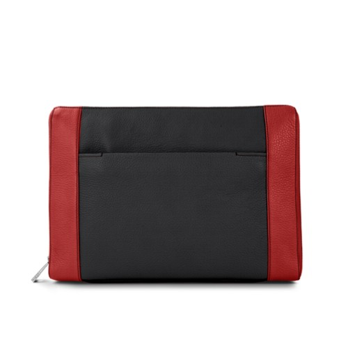 Document case 13 inches - Black-Red - Granulated Leather
