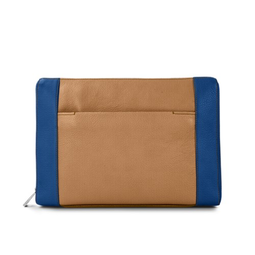 Document case 13 inches - Natural-Royal Blue - Granulated Leather