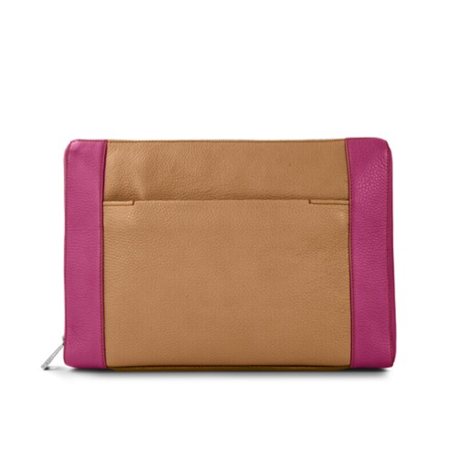 Document case 13 inches - Natural-Fuchsia - Granulated Leather