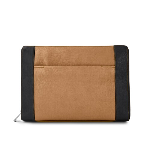 Document case 13 inches - Natural-Black - Granulated Leather