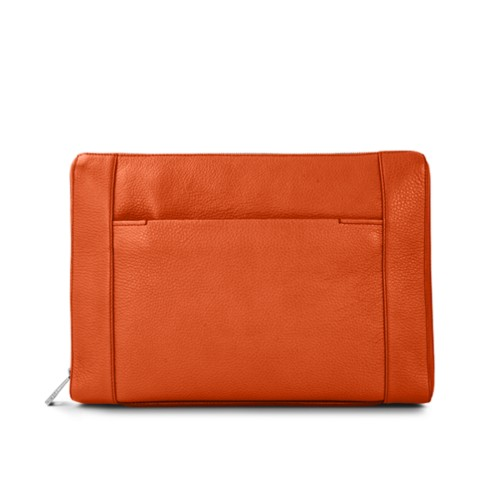 "Document case 13"" - Orange - Granulated Leather"