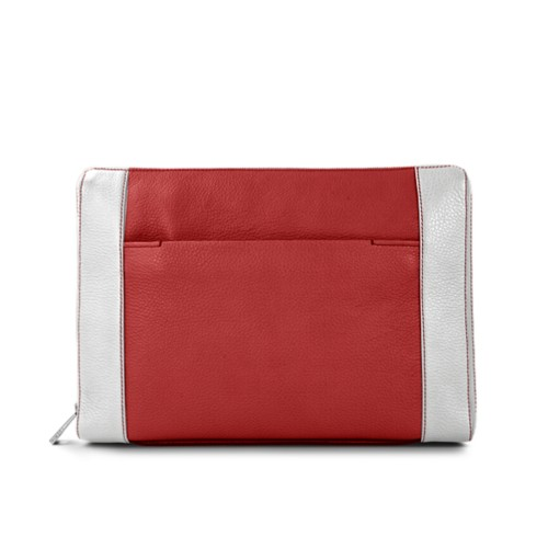 Document case 13 inches - Red-White - Granulated Leather