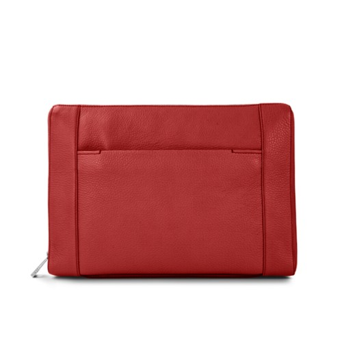 Document case 13 inches - Red - Granulated Leather