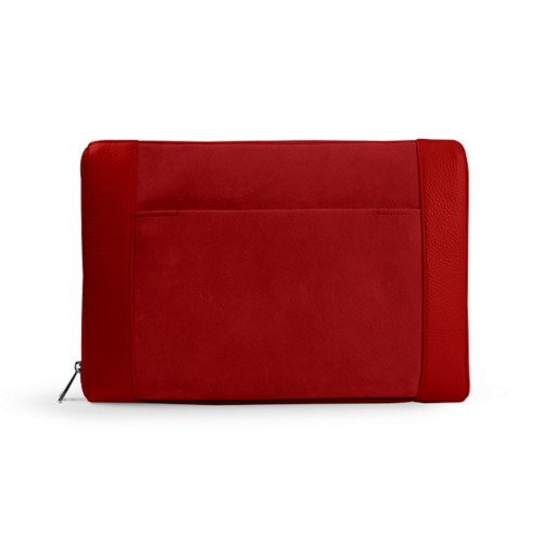 Document case 13 inches - Red - Suede Calf