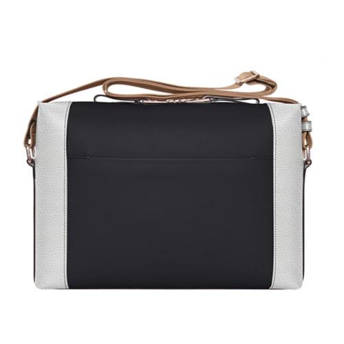 Messenger - Black-White - Granulated Leather