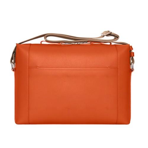 Messenger taschen - Orange - Genarbtes Leder