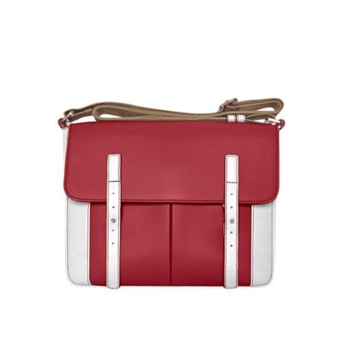 Courrier Bag - Amaranto-White - Granulated Leather