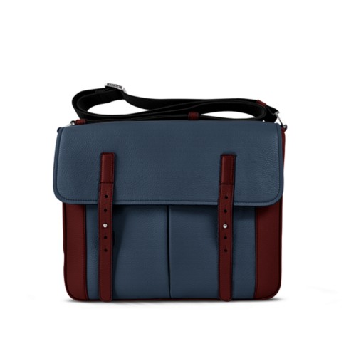 Courrier Bag - Navy Blue-White - Granulated Leather