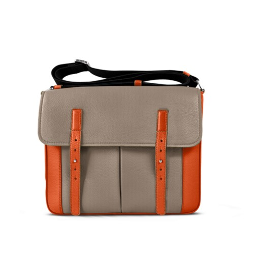 Courrier Bag - Mink-Orange - Granulated Leather