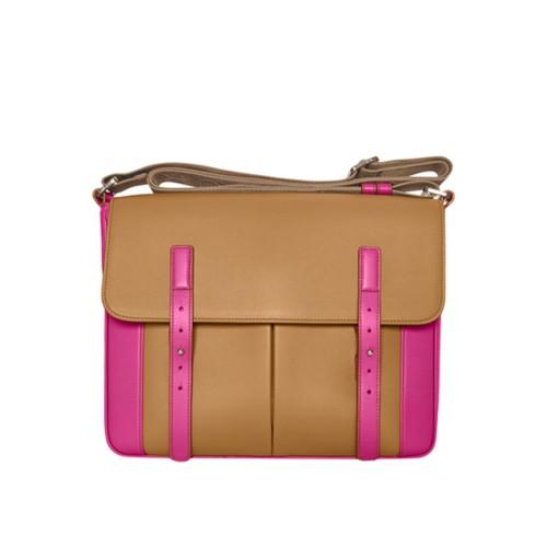 Courrier Bag - Flake-Fuchsia - Granulated Leather