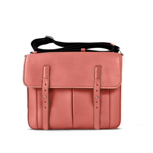 Courrier Bag - Coral - Granulated Leather