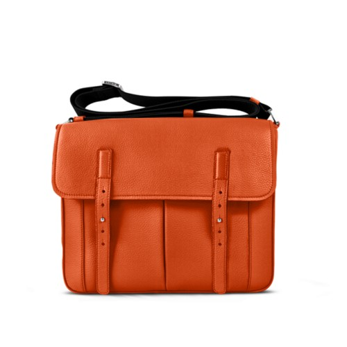 Courrier Bag - Orange - Granulated Leather