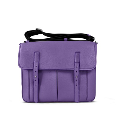 Courrier Bag - Lavender - Granulated Leather
