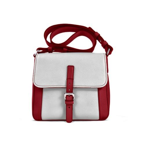 Crossbody - Amaranto-White - Granulated Leather