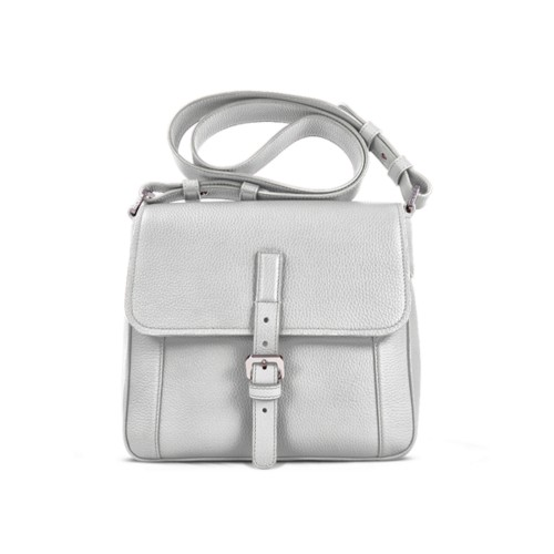 Crossbody - White - Granulated Leather