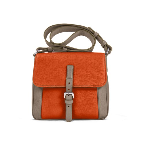 Crossbody - Mink-Orange - Granulated Leather