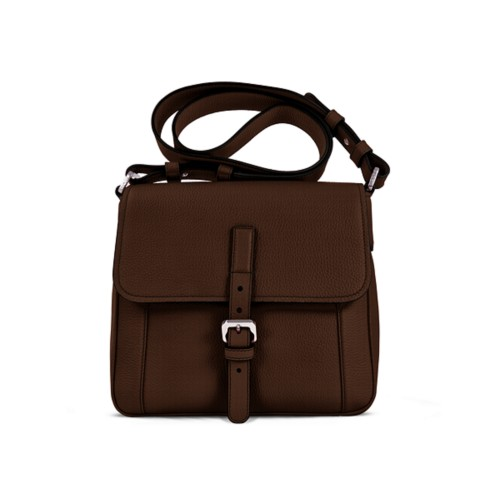 Crossbody - Dark Brown - Granulated Leather