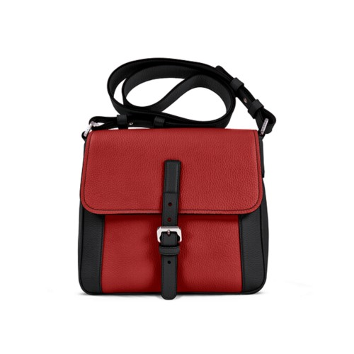 Crossbody - Black-Red - Granulated Leather
