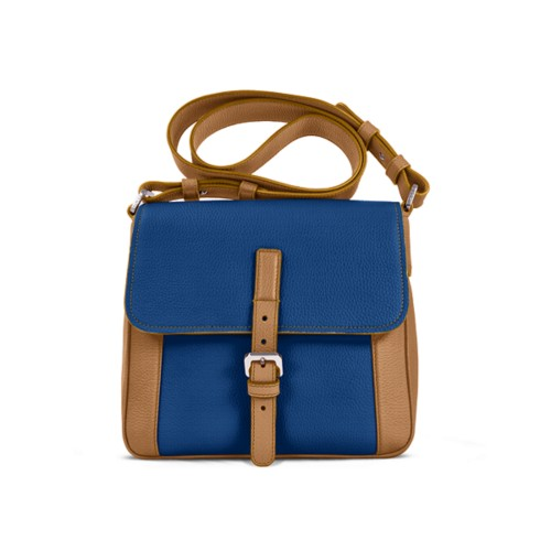 Crossbody - Natural-Royal Blue - Granulated Leather