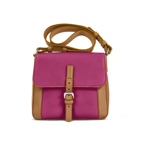 Crossbody - Natural-Fuchsia - Granulated Leather