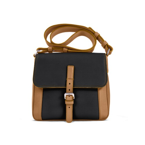 Crossbody - Natural-Black - Granulated Leather
