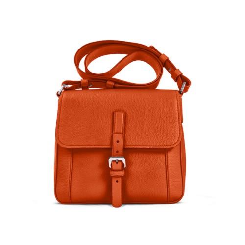 Umhängetasche - Orange - Genarbtes Leder