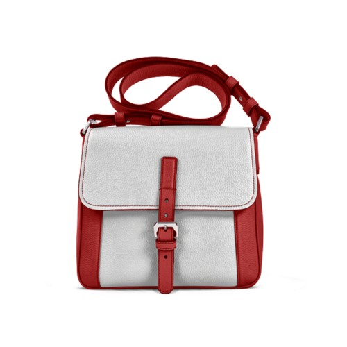 Crossbody - Red-White - Granulated Leather