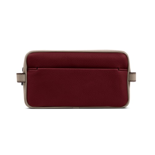 Designer Toiletry Bag (9.8 x 5.7 x 4.5 inches) - Burgundy-Mink - Granulated Leather