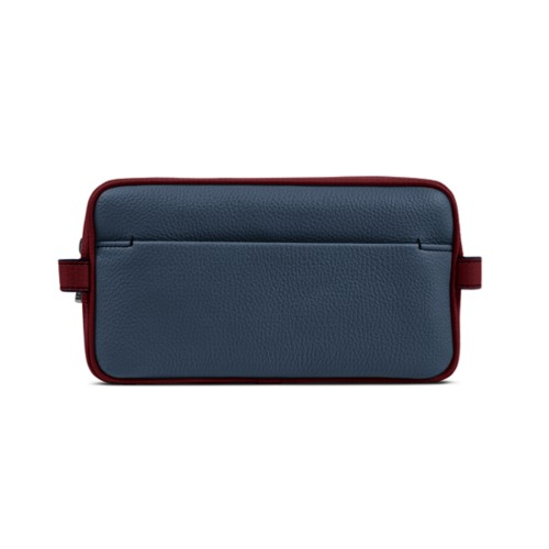 Designer Toiletry Bag (9.8 x 5.7 x 4.5 inches) - Navy Blue-Burgundy - Granulated Leather