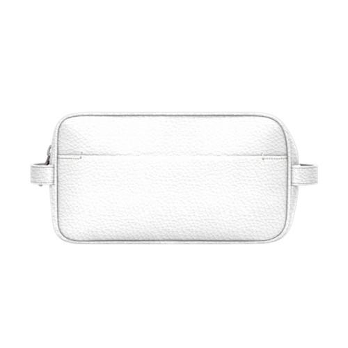 Designer Toiletry Bag (25 x 14.5 x 11.5 cm) - White - Granulated Leather
