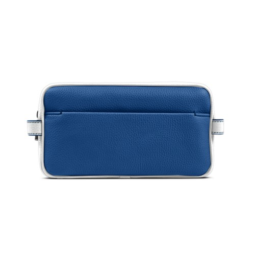 Designer Toiletry Bag (9.8 x 5.7 x 4.5 inches) - Royal Blue-White - Granulated Leather