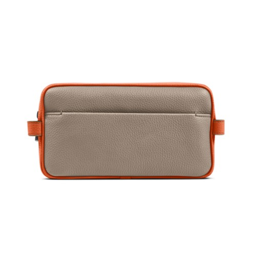 Designer Toiletry Bag (9.8 x 5.7 x 4.5 inches) - Mink-Orange - Granulated Leather