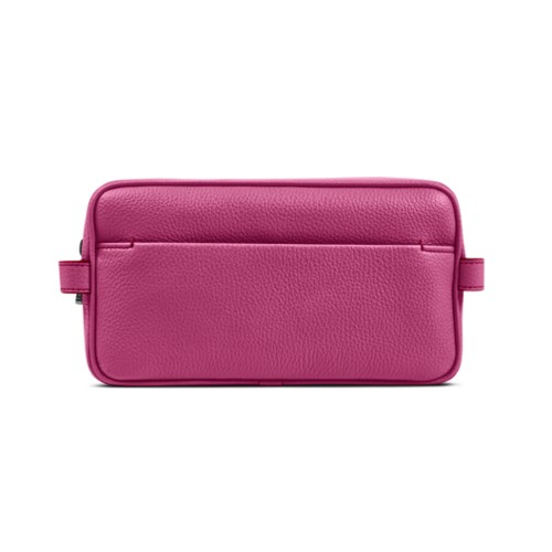 Designer Toiletry Bag (9.8 x 5.7 x 4.5 inches) - Fuchsia  - Granulated Leather