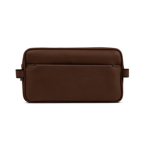 Designer Toiletry Bag (9.8 x 5.7 x 4.5 inches) - Dark Brown - Granulated Leather