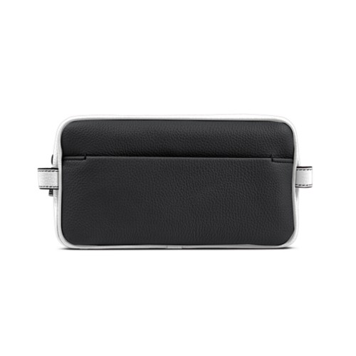 Designer Toiletry Bag (9.8 x 5.7 x 4.5 inches) - Black-White - Granulated Leather