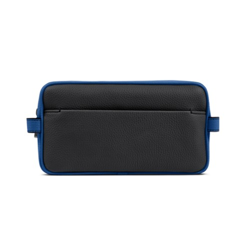 Designer Toiletry Bag (9.8 x 5.7 x 4.5 inches) - Black-Royal Blue - Granulated Leather