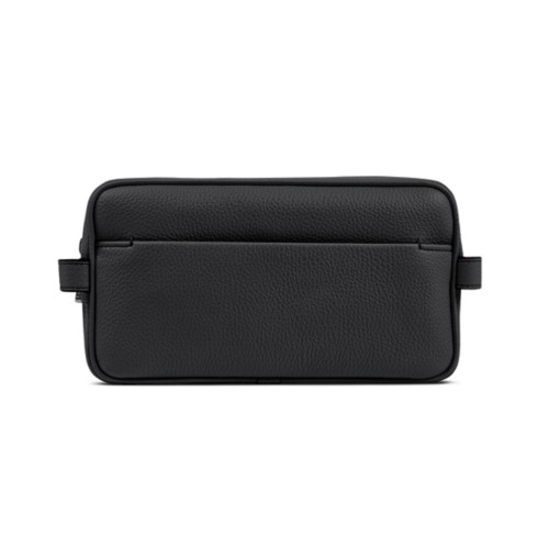 Designer Toiletry Bag (9.8 x 5.7 x 4.5 inches) - Black - Granulated Leather