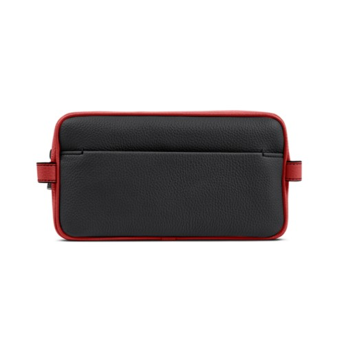 Designer Toiletry Bag (9.8 x 5.7 x 4.5 inches) - Black-Red - Granulated Leather