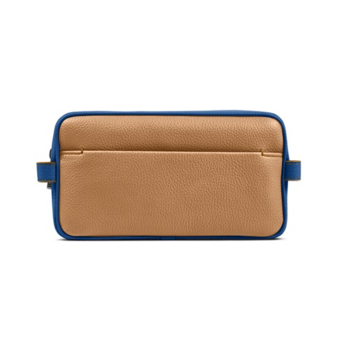 Designer Toiletry Bag (9.8 x 5.7 x 4.5 inches) - Natural-Royal Blue - Granulated Leather